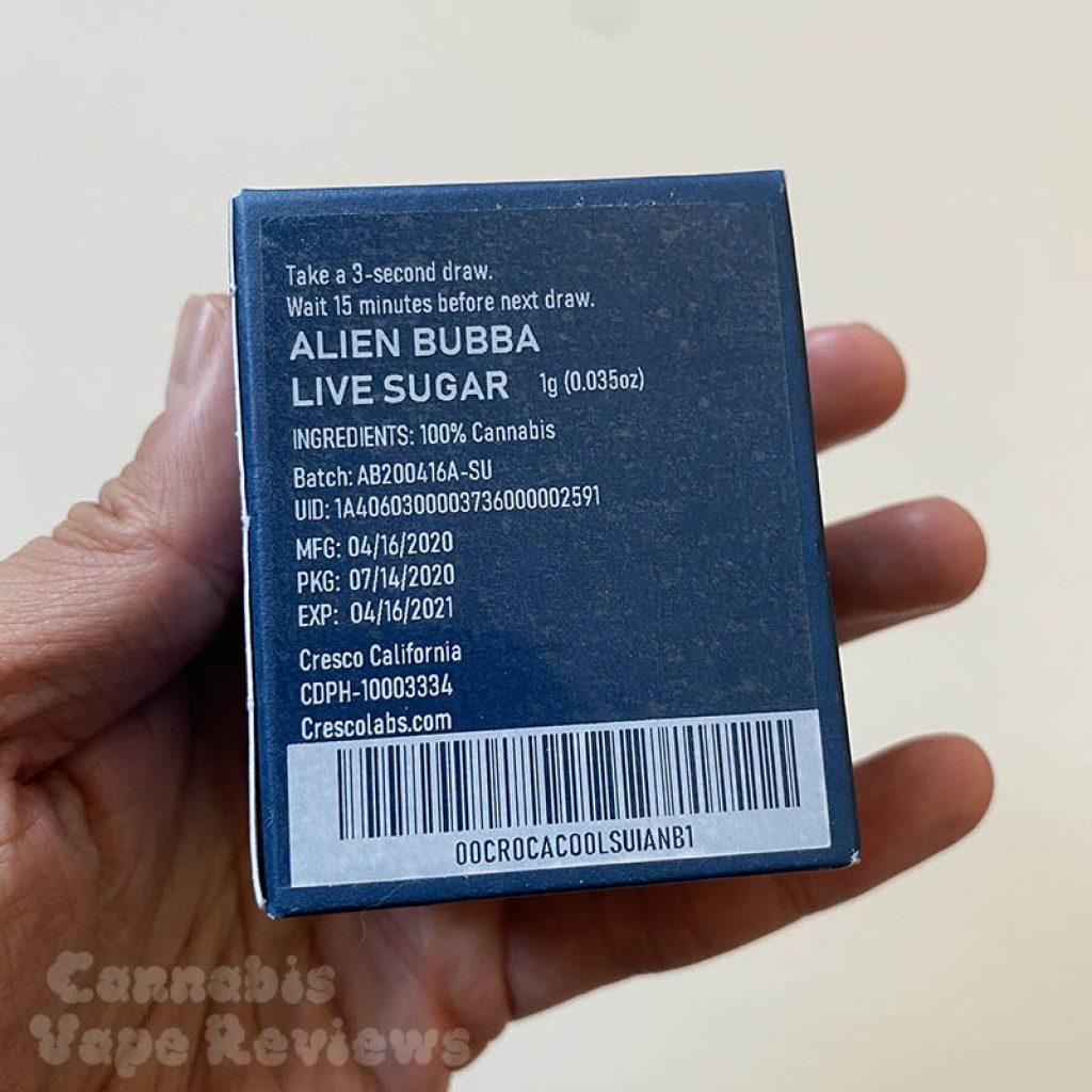 cresco cannabis live sugar alien bubba
